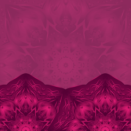 burgundy background: Mandala- Indian ornamentom. Stylish card for design and decor. Burgundy background.