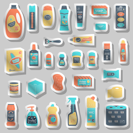 cleanser: Cleanser and washing icons set, vector illustration Illustration