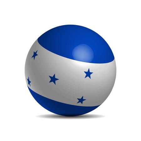 bandera honduras: bandera de Honduras en una bola 3d, ilustración vectorial