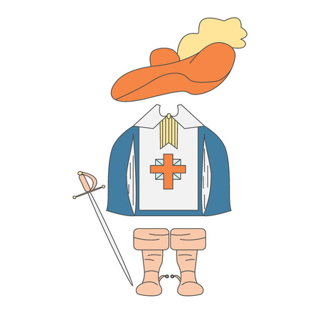 rapier: Items of clothing Musketeers. Rapier, gown, hat and boots. Vector illustration with isolated objects, made in the style of drawing