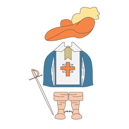 mosquetero: Los artículos de ropa mosqueteros. Rapier, vestido, sombrero y botas. Ilustración del vector con objetos aislados, hecho en el estilo de dibujo Vectores