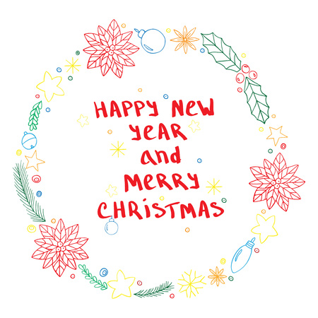 freehand tradition: Hand drawn frame winter decoration elements. Happy New Year and Merry Christmas. Vector illustration for design for greeting cards, invitations and more.