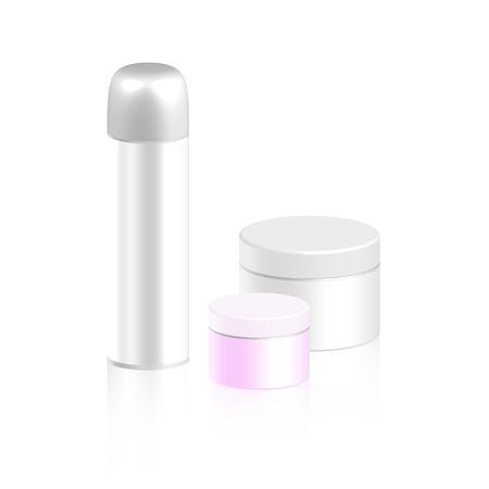 hair spray: Set of cosmetic bottle for cream, gel, powder and cosmetic bottle for foam or hair spray, vector illustration