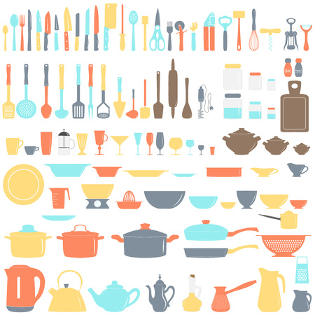 Set of kitchen utensils, vector illustration Vettoriali