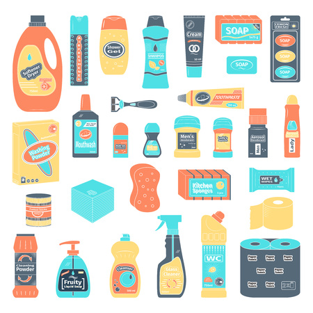 antiseptic: Cleanser and washing  icons set, vector illustration Illustration