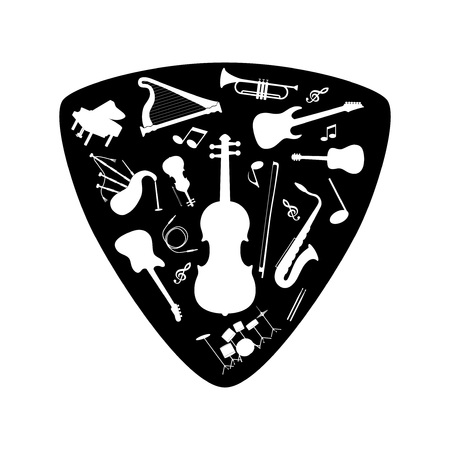 plectrum: Musical instrument set on a plectrum, vector illustration