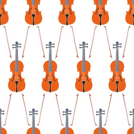 fiddlestick: Advertising card with violin, seamless pattern, vector illustration