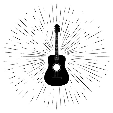 mediator: Advertising card with guitar silhouette, grunge style, vector illustration