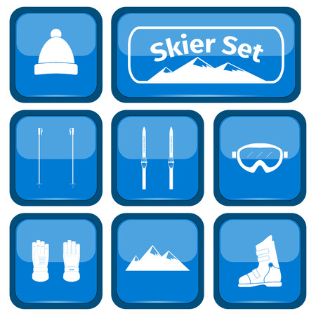 ice slide: Skier icons set with equipment, vector illustration