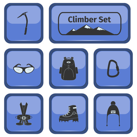 alpinism: Climber icons set with equipment, vector illustration