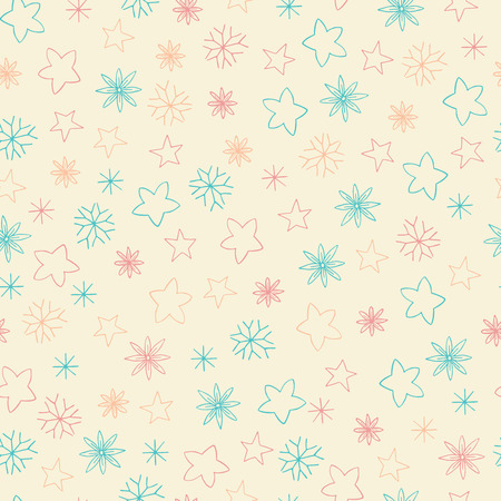 flower petals: Seamless pattern of stars, snowflakes and flowers. Bright holiday vector illustration of hand drawn elements. Background for design textiles, postcards and other