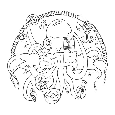 cephalopod: Cute smiling cartoon octopus with a camera.Vector illustration hand-drawn design with a banner for text. For childrens parties, invitations and other design.