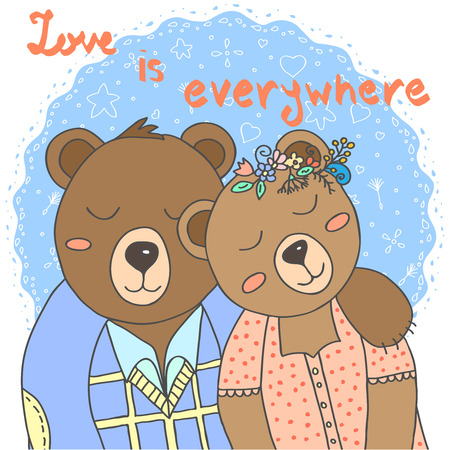 teddy wreath: Cute bears. Love is everywhere.illustration hand-drawn to decorate greeting cards, wedding invitations, Valentines Day and other design