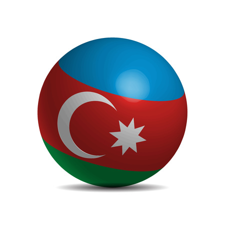 3d  ball: Azerbaijan flag on 3d ball, illustration