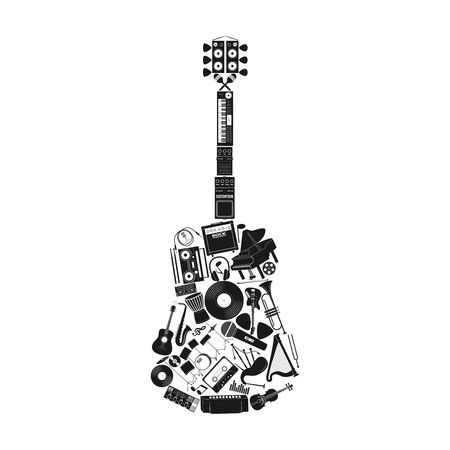 mediator: Musical instrument set in guitar form,  illustration Illustration