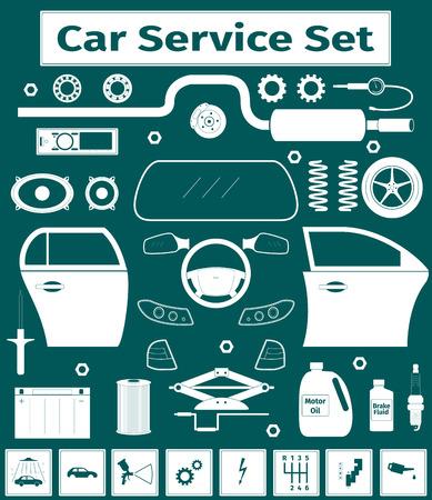 brake pad: Big car service icons set, vector illustration