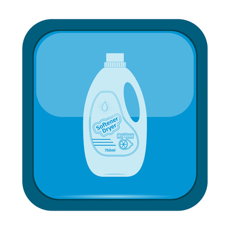 bright housekeeping: Softener dryer icon on a blue button, vector illustration Illustration