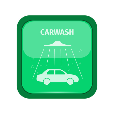 carwash: Carwash sign on a green buttom, vector illustration