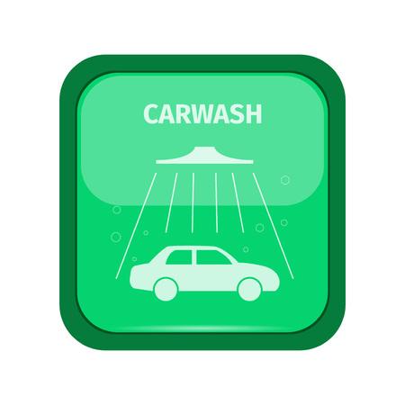 carwash: se�al de tren de lavado en un boton verde, ilustraci�n vectorial