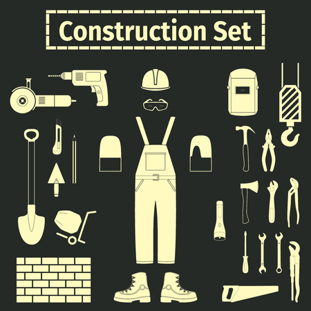 jenny: Construction and tools icons set, vector illustration