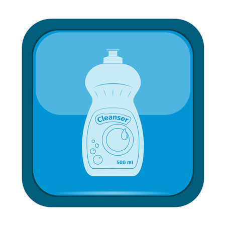 cleanser: Bottle of dish cleanser icon on a blue button, vector illustration