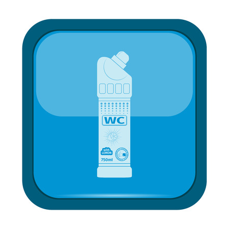 urinate: Plastic bottle of cleaning product icon on a blue button, vector illustration