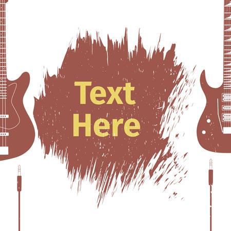 mediator: Advertising card with two guitar, vector illustration Illustration