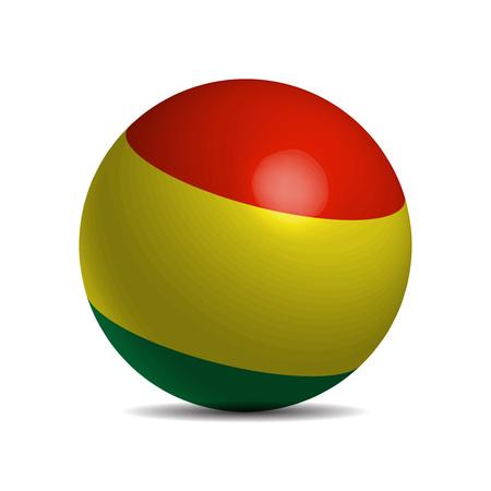 bandera de bolivia: bandera de Bolivia en una bola 3d, ilustraci�n vectorial Vectores