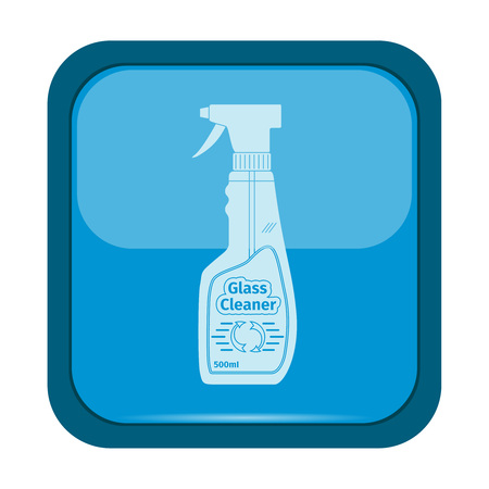 trigger: Glass cleaner icon on a blue button, vector illustration