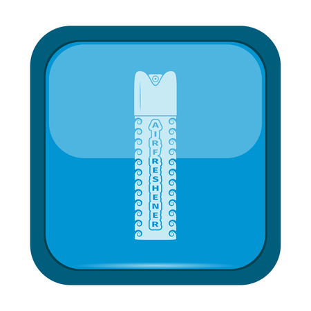 compressed gas: Freshener aerosol bottle icon on a blue button, vector illustration
