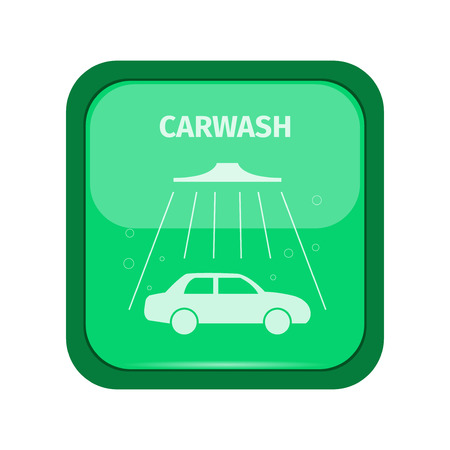 carwash: Carwash sign on a green buttom, vector illustration
