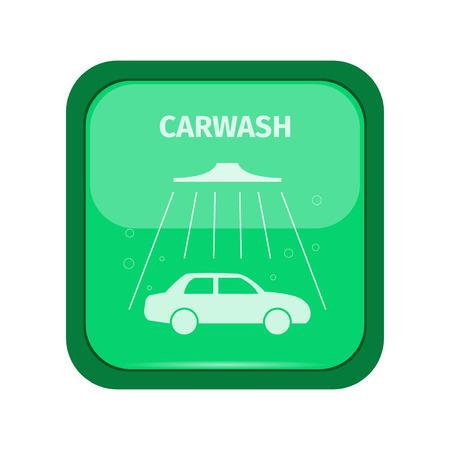 auto lavado: señal de tren de lavado en un boton verde, ilustración vectorial