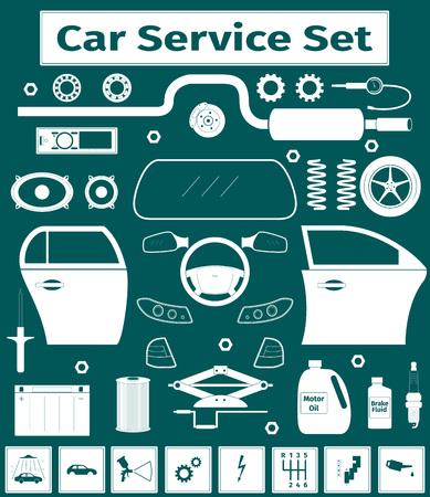 mirrow: Big car service icons set, vector illustration