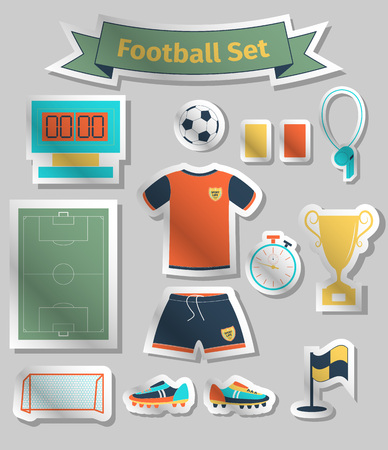 goal cage: Football icons set, sticker style, vector illustration Illustration