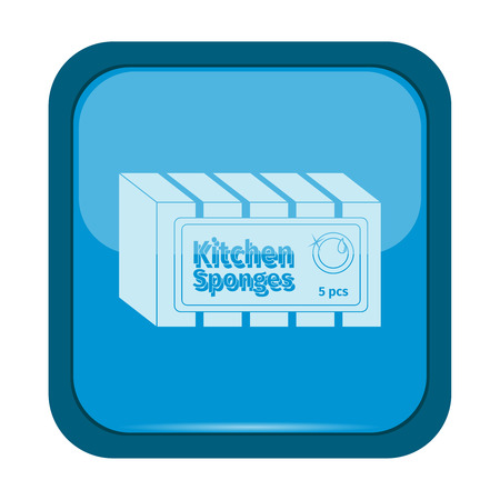 Kitchen sponge icon on a blue button, vector illustration