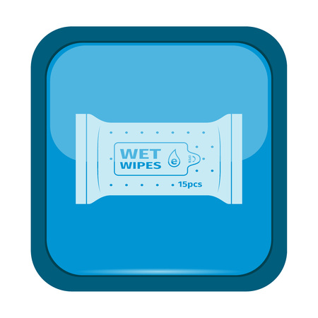 wet: Wet wipes icon on a blue button, vector illustration