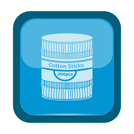 ear bud: Cotton sticks icon on a blue button, vector illustration