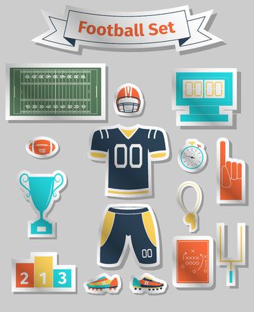 nfl football: American football colored icons set, illustration Illustration