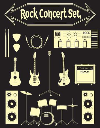 mediator: Set of concert equipment icons, illustration Illustration