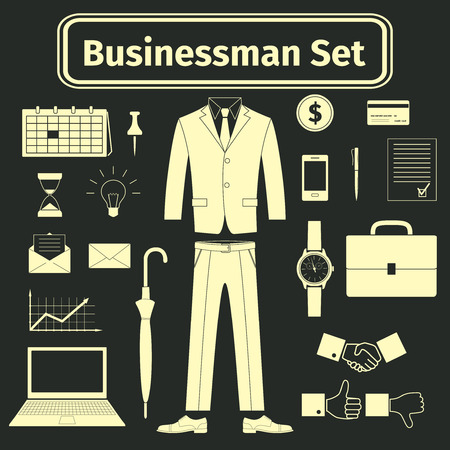businessman shoes: Business man utensils icons set, illustration
