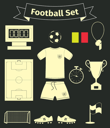 goal cage: Football icons set on a black background, vector illustration