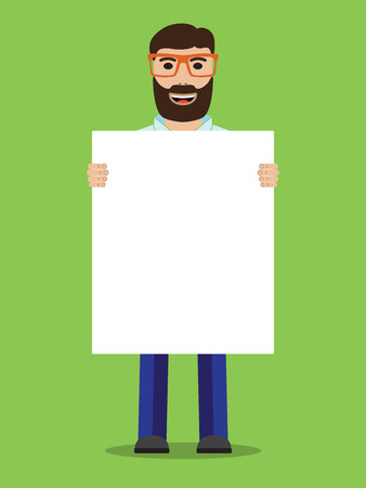 placard: Man with glasses holding placard, vector illustration. Illustration