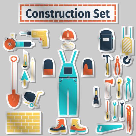 jenny: Construction icons set, flat label style, vector illustration Illustration