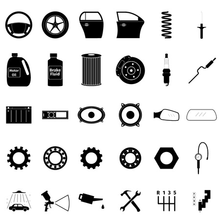 brake pad: Car service icons set, flat design, vector illustration Illustration