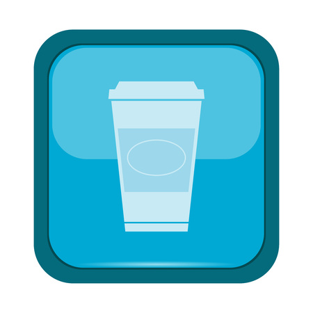 ready to eat: Cup icon on a blue button, vector illustration