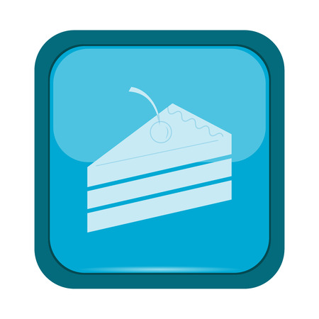 blue icon: Cake icon on a blue button, vector illustration