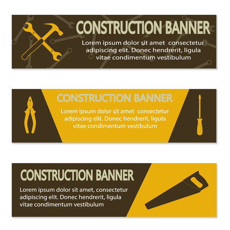 machinist: Advertising banners with different tools, vector illustration Illustration