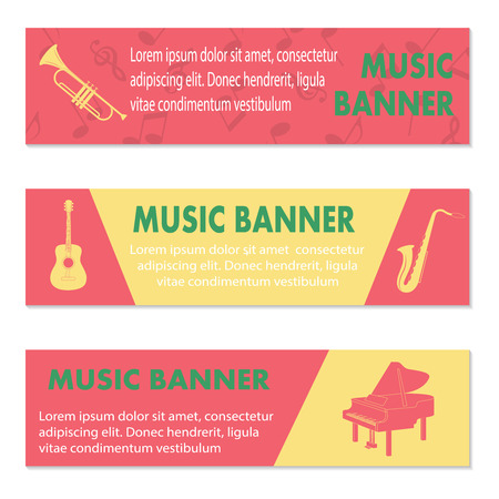 mediator: Advertising musical banners with guitar, piano and trumpets, vector illustration