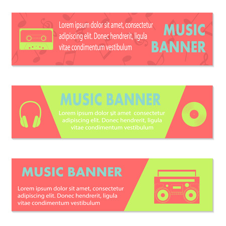 tape recorder: Advertising musical banners with tape, tape recorder and  headphones, vector illustration