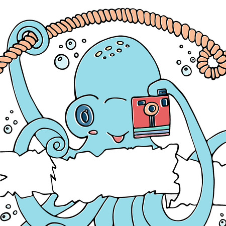 Cute smiling cartoon octopus with a camera.Vector illustration hand drawn design with a banner for text. For childrens parties,baby shower, invitations and other design. Illustration